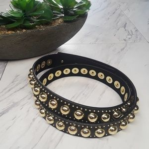 Express Gold Studded Skinny Thin Belt NWT M/L